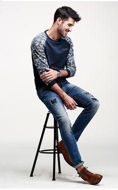 T-shirt dos homens KUEGOU FW-6071 padrão de flor camisola - azul (XXL) - frete grátis - DealExtreme