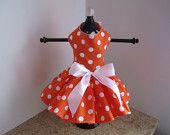Dog Dress  XS  Orange  With Polka Dots   By Nina's Couture Closet