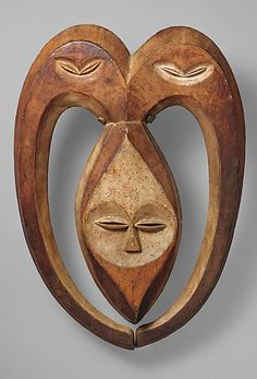 Ram mask Kwele people, Gabon or   Republic of Congo 21 in, carved wood
