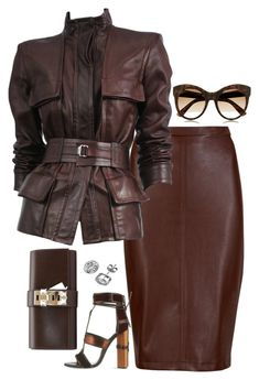 A fashion look from November 2015 featuring leather jackets, brown skirt and Tom Ford. Browse and shop related looks. Hot Outfits, Classy Outfits, Stylish Outfits, Fashion Outfits, Womens Fashion, Look Fashion, Fashion Beauty, Leather Fashion, Autumn Winter Fashion