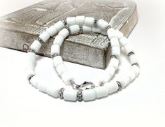 White Linen - Men's White Jade Necklace by Designed By Audrey on Etsy, $48.00