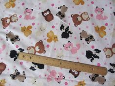 One-Yard-White-Girly-Woodland-Animals-Fox-Skunk-Owl-Rabbit-Flannel-Fabric