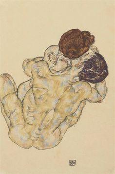 Egon Schiele (1890-1918) Mann Und Frau (Umarmung)