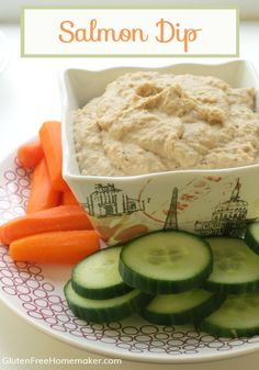 This gluten and dairy free salmon dip is great with raw veggies, crackers or chips. It's similar to hummus and uses white beans. Found at GlutenFreeHomemaker.com