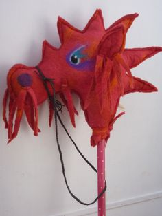 Hobby Horse, Hand Felted, OOAK, Red Dragon, Magical £55.00