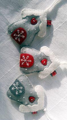 Set van drie wit-rood-grijs Winter Snowflake door AgnesFeltCraft