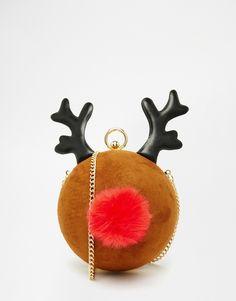 Image 1 ofSkinnydip Exclusive Reindeer Glitter Cross Body Bag