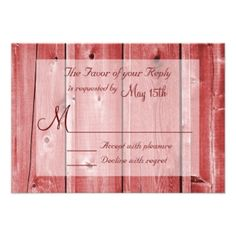 Shop Rustic Country Red Barn Wood Wedding RSVP Cards created by CustomWeddingSets. Barn Wedding Invitations, Discount Wedding Invitations, Personalised Wedding Invitations, Wedding Rsvp, Wedding Invitation Templates, Country Wedding Cakes, Wedding In The Woods, Response Cards, Barn Wood