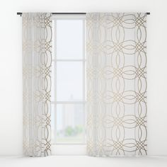 Simply Vintage Link in White Gold Sands on White Window Curtains