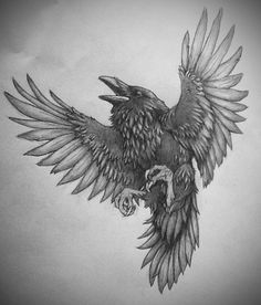 Raven by irontigers Grey Ink Tattoos, Body Art Tattoos, Tattoo Drawings, Ear Tattoos, Black Crow Tattoos, Girl Tattoo Placements, Yggdrasil Tattoo, Raven Pictures, Atlas Tattoo