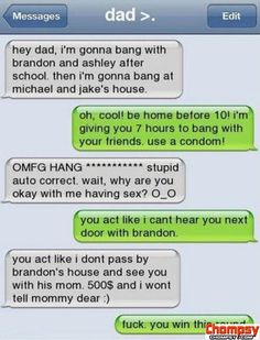 Text Message - Funny Dad - www. Text Message - Funny Dad - www. Funny Text Messages Fails, Text Message Fails, Funny Texts Jokes, Text Jokes, Cute Texts, Funny Quotes, Break Up Text Messages, Funny Wrong Number Texts, Funny Dad Memes