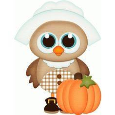 Silhouette Design Store - View Design #68540: pilgrim owl girl w pumpkin pnc