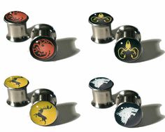 I want them all!! Game of Thrones Plugs  8g  5/8 by NineTailsShop on Etsy, $17.00
