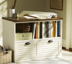 Whitney Lateral File with Shelf - Almond White | Pottery Barn
