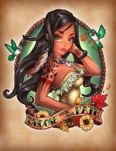 Pocahontas - Pocahontas   8 Disney Princesses As Fierce Vintage Tattooed Pin-Ups