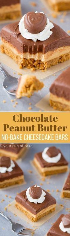 Peanut Butter No Bake Cookies Chocolate Peanut Butter No-Bake Cheesecake Bars, these are SO GOOD! Love this easy recipe!Chocolate Peanut Butter No-Bake Cheesecake Bars, these are SO GOOD! Love this easy recipe! Easy Desserts, No Bake Desserts, Delicious Desserts, Dessert Recipes, Baking Desserts, Layered Desserts, Holiday Desserts, Healthy Desserts, Peanut Butter No Bake
