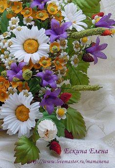 """Купить Полевой букет """"Кораблик из лета"""" - авторские украшения, эксклюзивный подарок, цветы ручной работы"""