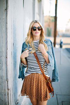 mix de estampas + jeans. polka dots, stripes. poá e listras