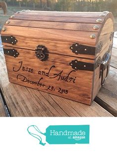 Engraved Wooden Card and Memory Chest - Rustic Wedding Card Chest - Personalized…