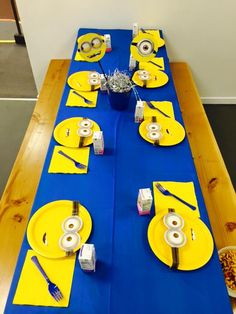 Despicable Me Minion themed birthday party with DIY table settings and decorations!