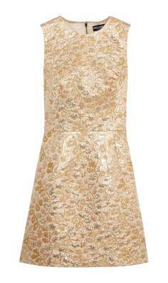 metallic brocade mini dress