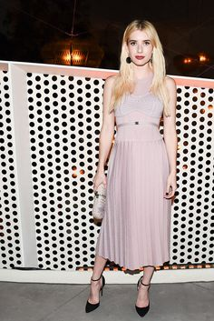 Major going-out dress envy: Emma Roberts in a dusty pink midi-length bodice style