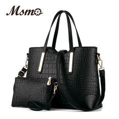 Novo 2016 bolsas femininas de couro saco crossbody bolsa de ombro mensageiro sacos de embreagem saco de mão de crocodilo tote + bolsa 2 conjuntos sac