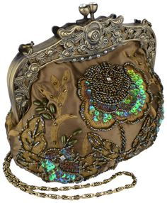 Antique Beaded Rose Evening Handbag