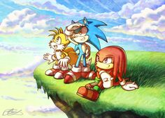 "Team Sonic by Suncelia on deviantART - Sonic the Hedgehog - Miles ""Tails"" Prower - Knuckles the Echidna"