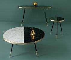 maison & objet 2016 - designer bethan gray has created a collection of tables with marble tops wrapped in bands of brass