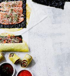 Tamagoyaki-rullat ja munakas sekä kesärullat dippeineen
