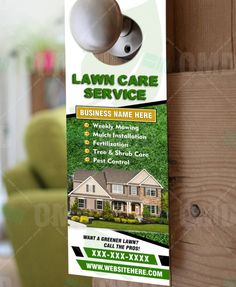 Lawn Care And Landscaping Door Hangers Lawn Care