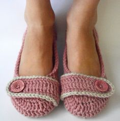 Crochet Womens Slippers, Ballet Flats, House Shoes - Precious Pink and Linen - Made to Order (Size 7 READY TO SHIP)