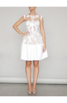 FLOWER LACE AND CREPE CORSET DRESS - Rhea Costa; I NEED this dress