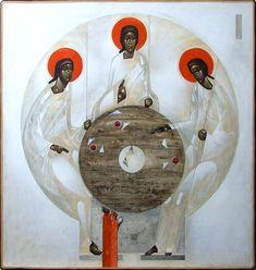 by Greta Lesko (Poland)~~~iHoly Trinity; Christian Images, Christian Art, Religious Icons, Religious Art, Modern Art, Contemporary Art, Tribe Of Judah, Christian Symbols, Byzantine Icons