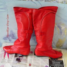 SANTANA Red Leather Slouch Boots size 7 .5 M Eu 38 UK by GoodEye