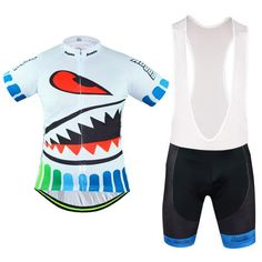 Men's White Shark Short Sleeve Cycling Jersey Set #Cycling #CyclingGear #CyclingJersey #CyclingJerseySet