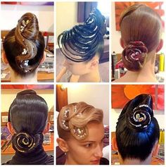 Which one of these hairstyles is your favorite? Visit http://ballroomguide.com/comp/hair_make_up.html for more hair and makeup info