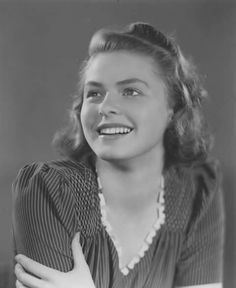 Ingrid Bergman: She appears so young here that you can almost sense the air was crisp and so ripe with possibilities. Hollywood Icons, Hollywood Actor, Hollywood Celebrities, Vintage Hollywood, Hollywood Actresses, Classic Hollywood, Actors & Actresses, Swedish Actresses, Classic Actresses