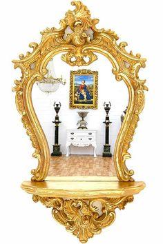 MIROIR BAROQUE 66x38cm DORE CONSOLE ROCOCO ROCAILLE GLACE STYLE LOUIS XV #AntiqueLouisXVLouisXVIEmpire