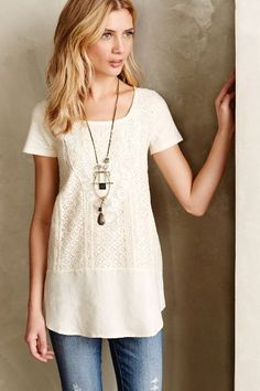 Laurel Lace Tunic - with faded distressed jeans anthropologie.com