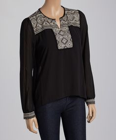 Look what I found on #zulily! Black Embroidered Top #zulilyfinds