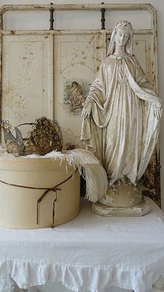Creamy white religious statue