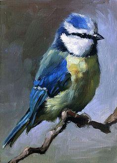 ~ Bluetit~ Gorgeous Bird Oil Painting~ From Fincharts ~ Via Etsy.com.
