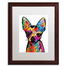 "Trademark Art ""Chihuahua Dog White"" by Michael Tompsett Framed Graphic Art Size:"