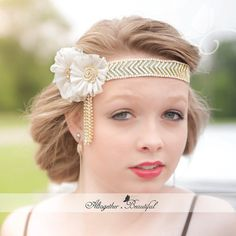 "DECEMBER SALE ~ Enter coupon code DECSALE for 20% off ~ 1920s head piece, inspired by ""The Great Gatsby"""