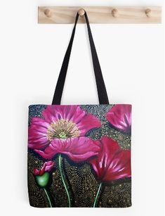 Never-Before-Seen Photographs of How I Paint my Patterned Poppies – Cherie Roe Dirksen Large Bags, Small Bags, Canvas Paintings, Red Poppies, Medium Bags, Art Techniques, Sell Your Art, Art World, Cotton Tote Bags