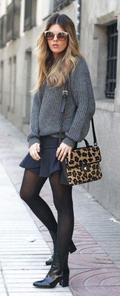 #fall #fashion / black + plaid knit