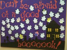 Discover thousands of images about Fall library bulletin board October Bulletin Boards, Halloween Bulletin Boards, Reading Bulletin Boards, Bulletin Board Display, Classroom Bulletin Boards, Classroom Ideas, Middle School Libraries, Elementary Library, Library Boards