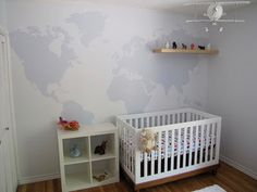 this map is painted but good link to transportation wall decals that would be great for a travel-themed nursery if you didn't want to put up a big map on the wall.